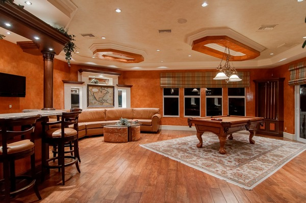 Opulently arranged and decorated game room