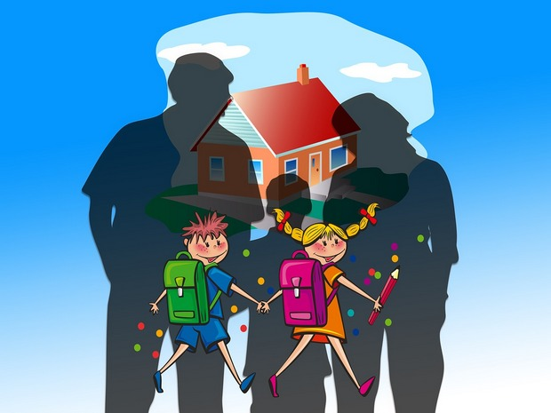 An illustration of a family home with two happy school children and silhouettes of parents with a boy