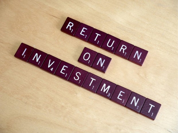 Return on investment, written in scrabble
